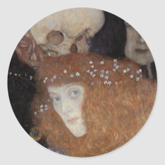 Klimt ~  Hope I  ( detail ) Classic Round Sticker