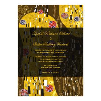 Klimt Inspired Art Nouveau Chic The Kiss Wedding Custom Invitation