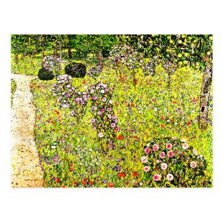 Klimt - jardín con los rosas arte de la fruta de
