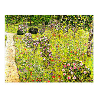 Klimt - jardín con los rosas, arte de la fruta de tarjeta postal