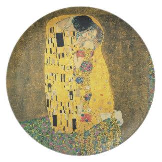 Klimt la placa del arte del beso plato de comida