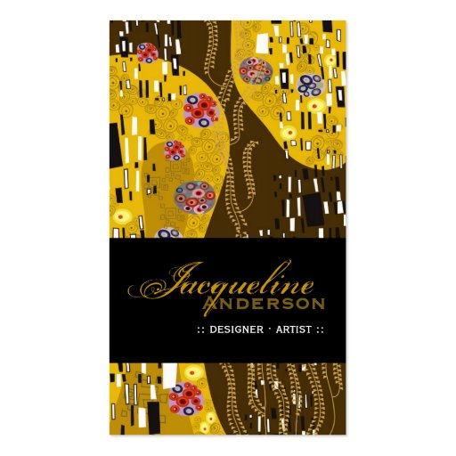 Klimt Pattern Art Nouveau Deco Gold Profile Card Double-Sided Standard Business Cards (Pack Of 100)