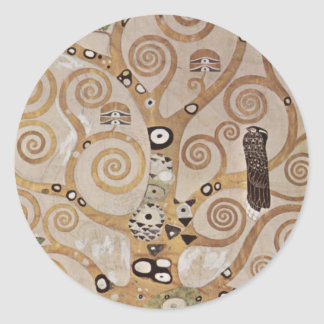 Klimt - Plant templates Stocletfries Classic Round Sticker