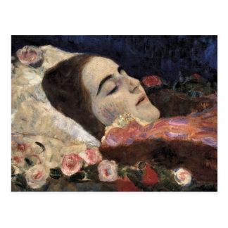 Klimt Ria Munk en su lecho de muerte Tarjeta Postal