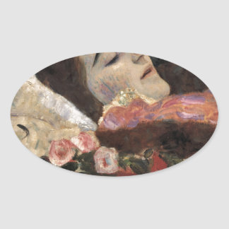 Klimt Ria Munk On Her Deathbed Oval Sticker
