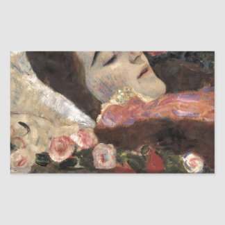 Klimt Ria Munk On Her Deathbed Rectangular Sticker