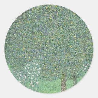 Klimt Rosebushes Under the Trees Classic Round Sticker