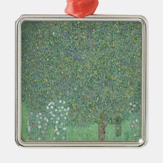 Klimt Rosebushes Under the Trees Metal Ornament