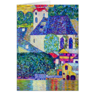 Klimt St Wolfgang church in Unterach on Lake Atter Card