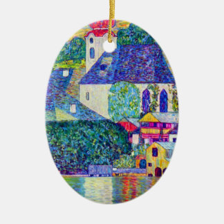 Klimt St Wolfgang church in Unterach on Lake Atter Ceramic Ornament