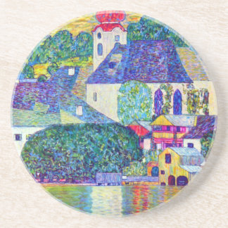 Klimt St Wolfgang church in Unterach on Lake Atter Drink Coaster