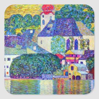 Klimt St Wolfgang church in Unterach on Lake Atter Square Sticker