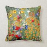 Klimt Style Flower Garden Pillow by Sharles