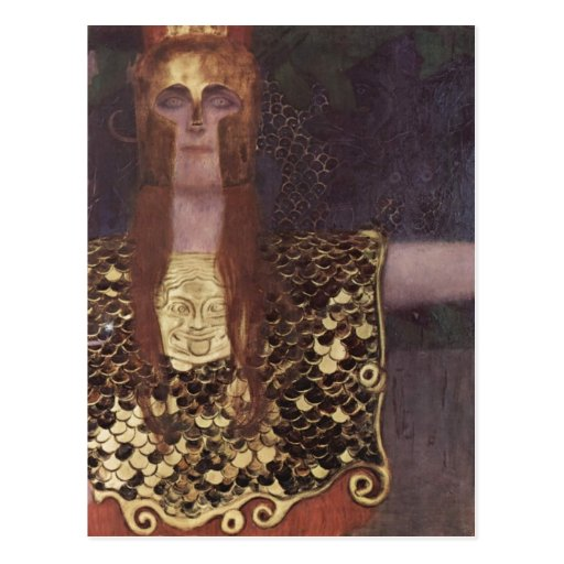 ¿Klimt, técnica 1898 de Gustavo Pallas Athena? l a Postal