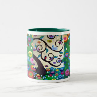 Klimt tribute tree of life Two-Tone coffee mug