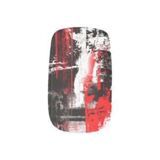 kline - red, black, and white paint streaks  	Minx® nail art