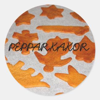 Klistermärke de Pepparkakor Pegatinas Redondas