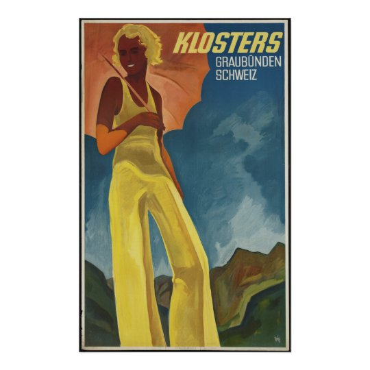 Klosters Vintage Travel Poster Ad Retro Prints
