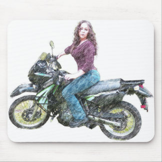 KLR Dual Sport with Lady Mouse Pad