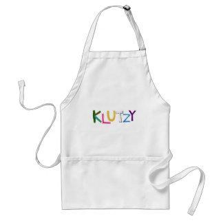 Klutzy clumsy uncoordinated oaf fun word art adult apron