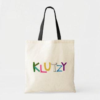 Klutzy clumsy uncoordinated oaf fun word art tote bag