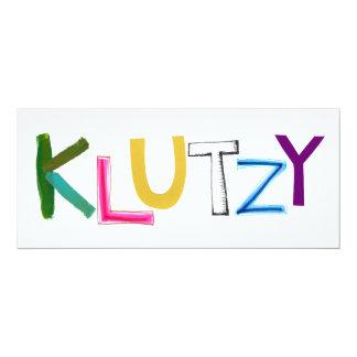 Klutzy clumsy uncoordinated oaf fun word art card