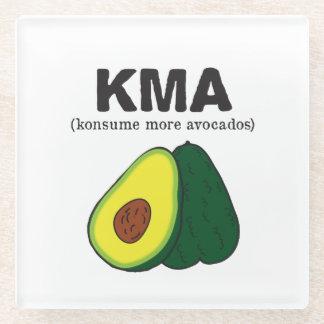 kma./(konsume more avocados) glass coaster