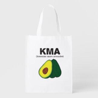 kma/(konsume more avocados) reusable grocery bag