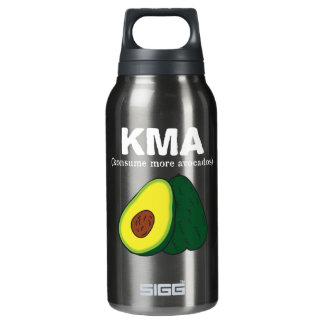 kma./(konsume more avocados) <white text> insulated water bottle