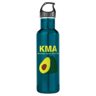 KMA (konsume more avocados) - yellow text Stainless Steel Water Bottle