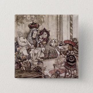 Knave before the King and Queen of Hearts Pinback Button