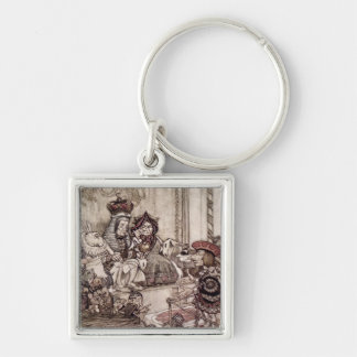 Knave before the King and Queen of Hearts Silver-Colored Square Keychain
