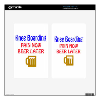 Knee Boarding pain now beer later Decal For Kindle Fire