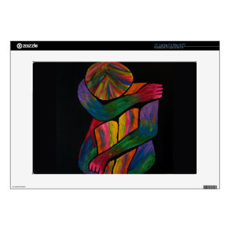 "Knee Hugging Pop Art Portrait Decal For 15"" Laptop"