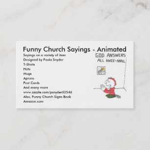 Funny sayings business cards zazzle knee mail funny church sayings animated say business card colourmoves
