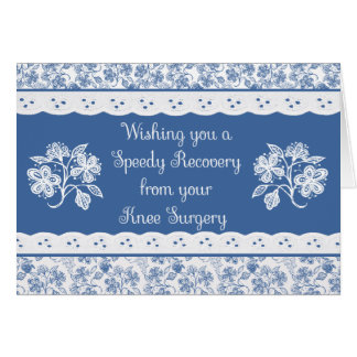 Knee Surgery Get Well Floral Faux Lace Card