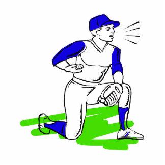 Kneeling baseball guy statuette