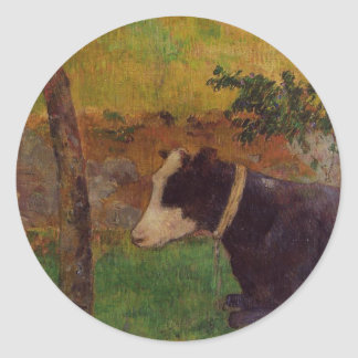 Kneeling cow by Paul Gauguin Classic Round Sticker