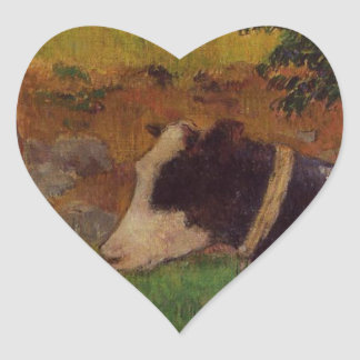 Kneeling cow by Paul Gauguin Heart Sticker