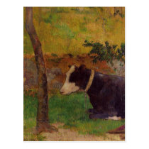 Kneeling cow by Paul Gauguin Postcard