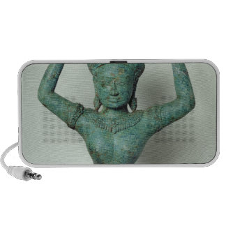 Kneeling feminine figure  used to support a laptop speaker