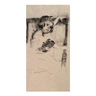 Kneeling in an Armchair by Mary Cassatt Card
