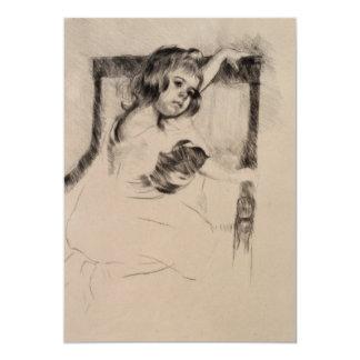 Kneeling in an Armchair by Mary Cassatt 5x7 Paper Invitation Card