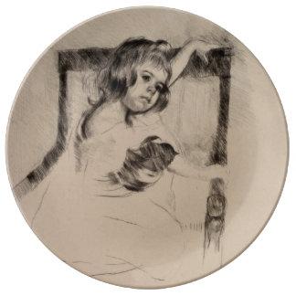 Kneeling in an Armchair by Mary Cassatt Porcelain Plate