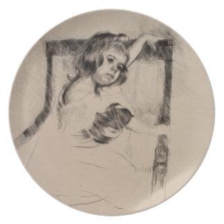 Kneeling in an Armchair by Mary Cassatt Dinner Plates