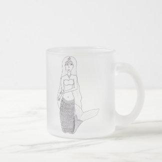 Kneeling Mermaid Frosted Glass Coffee Mug