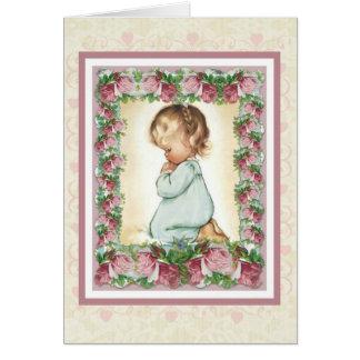 Kneeling praying little girl w/pink roses card