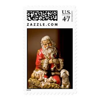 Kneeling Santa Postage Stamp