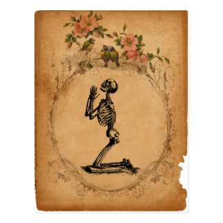 Kneeling Skeleton Postcard