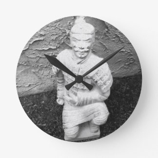 Kneeling Warrior Round Clock